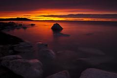 Fire Lake_DSC6116 (antelope reflection) Tags: sunset red orange lake color reflection beach water yellow clouds utah antelopeisland greatsaltlake utahstatepark nikond90
