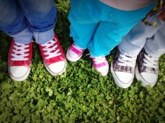 Welcome Spring (vanilla_jo) Tags: pink blue red man green me colors grass kid spring shoes daughter husband sneakers jeans welcome checkered clovers