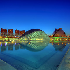 Blue hour (AO-photos) Tags: blue reflection valencia night bleu nuit hdr