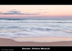 Dusk - Palm Beach (John_Armytage) Tags: pink sunset clouds canon movement sand wave australia nsw palmbeach seascpae johnarmytage wwwjohnarmytagephotographycom