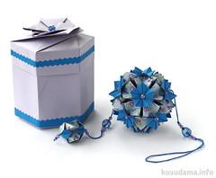 Gift box & kusudama (ronatka) Tags: blue square origami box gift modularorigami kusudama tomokofuse withbeads nataliaromanenko