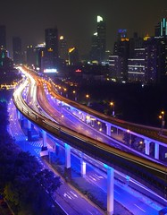 Shanghai - Yan'an Elevated Road (cnmark) Tags: china road city blue light night geotagged noche highway cityscape shanghai expo nacht district an led yan noite  elevated  nuit notte 2010 nachtaufnahme huangpu  yanan allrightsreserved    oltusfotos geo:lat=3122544 geo:lon=121464752