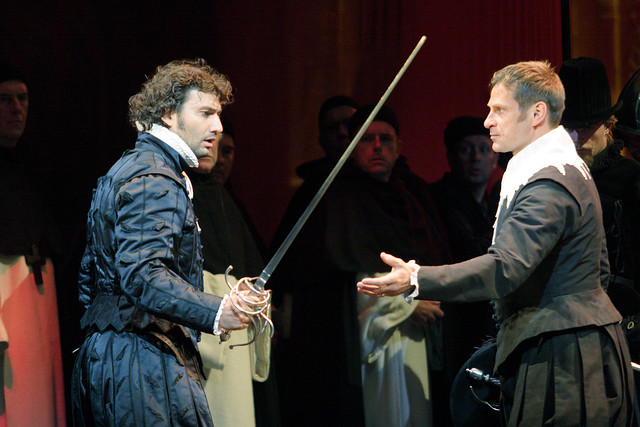 "Jonas Kaufmann as Carlos and Simon Keenlyside as Posa in Nicholas Hytner's production of Don Carlo.  The Royal Opera 2009.  <a href=""http://www.roh.org.uk"" rel=""nofollow"">www.roh.org.uk</a>.  Photo by Catherine Ashmore"