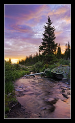 Outflow (Tyler Porter Photography) Tags: camping wild motion mountains beautiful creek forest sunrise river landscape interesting fishing woods colorado rocks colorful stream hiking vibrant sony exploring vivid wideangle reflected boulders alpine backpacking slowshutter backcountry rockymountains alpha inspirational majestic exciting fallcreek motivational highcountry subalpine holycrosswilderness a55 sigma1020 watermovement tylerporter lakeconstantine