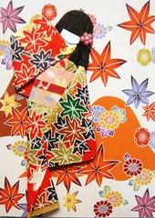 ACEO29 - Autumn leaves (tengds) Tags: orange leaves atc autumnleaves geisha kimono obi nailart papercraft japanesepaper washi ningyo handmadecard chiyogami yuzenwashi japanesepaperdoll japanesedesignprint origamidoll tengds