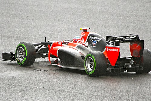 Charles Pic in his Marussia F1 car at Silverstone