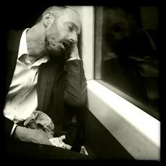 Last Train Home, St John's, July 2012 (Michael Sissons) Tags: street white black london train photography sleep noflash commuter iphone johnslens hipstamatic claunch72monochromefilm