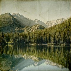 quite boundry (jssteak) Tags: lake mountains reflection water forest canon square colorado rmnp longspeak textured rockymountainnationalpark bearlake glaciergorge gurnge t1i applesandsisters