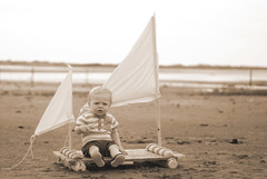 (*karly*) Tags: boy baby beach sepia sails cumbria raft ravenglass