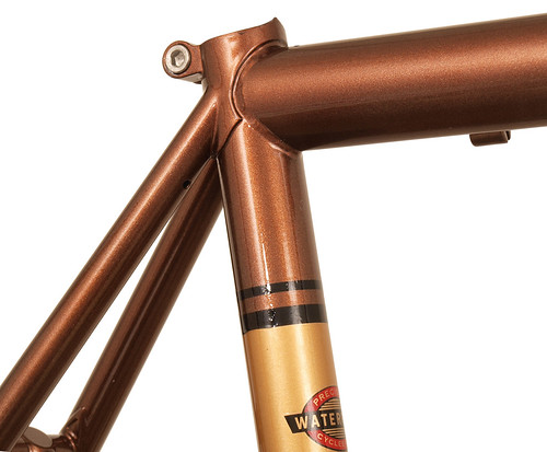 <p>Seat Cluster from a 33-Series Waterford painted Copper Metallic.  The half-lug provides great support for the seatstays plus a built in seatpost clamp.</p>