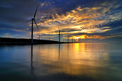 High tide @Koamei wetland  (Vincent_Ting) Tags: sunset sky water windmill silhouette clouds taiwan  formosa   windturbine wetland