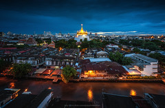 Golden Mountain (Weerakarn) Tags: city blue sky urban landscape thailand temple canal twilight cityscape nightscape bangkok bluesky thai bluehour bkk goldenmountain thaitemple thaiculture    thaiarchitecture  templeinthailand themostbeautifultemple