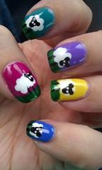 sheep nails! (iamsparkli) Tags: pink blue green art yellow purple sheep nail polish nails manicure dots nailpolish nailart varnish lacquer notd flickrandroidapp:filter=none
