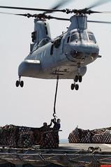 080324-N-0807W-295 (trackpads) Tags: pacificocean verticalreplenishment trackpads docklandingshipussharpersferrylsd49 essexexpeditionarystrikegroup marinemediumhelicoptersquadronhmm265 militarysealiftcommandcombatstoresshipusnssanjosetafs marinecorpsch46helicopter
