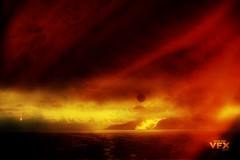 The beginning of the end! (Tempered State) Tags: sun moon texture fire eclipse smoke esplanade layers cairns doomsday meteors ipad darkrift vfxstudios