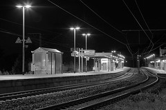 Bahnsteig  23 (rabe-pix) Tags: bw station night train nacht illumination railway zug bahnhof terminal sw monochrom durchfahrt