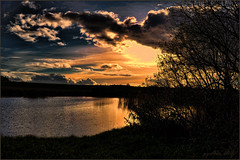 Setting sun at the pond. (gos1959) Tags: sunset lake clouds reflex pond fake jammerbugt gynther mygearandme mygearandmepremium mygearandmebronze mygearandmesilver mygearandmegold mygearandmeplatinum pregamesweepwinner biersted pregameduelwinner