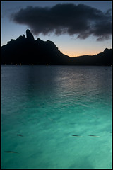 sunset (abandonnship) Tags: blue sunset cloud mountain fish nature animals silhouette outdoors evening honeymoon teal review lagoon borabora d300s nikond300s