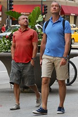 Two men walking (LarryJay99 ) Tags: gay urban hairy chicago male men guy couple arms legs masculine manly hunk glbt guys sneakers dude shorts dudes backpacker stud hunks studs urbanscape cargopants virile canonefs18135mmf3556is ilobsterit