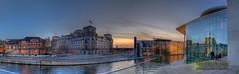 Regierungsviertel Berlin (Nachtwächter) Tags: panorama berlin nightshot reichstag spree dri hdr nachtaufnahme regierungsviertel tonemapping