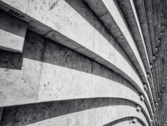 (orwa_farran) Tags: city nyc blue shadow sky blackandwhite white abstract art colors field lines architecture stairs studio landscape la artist outdoor geometry stadium text horizon line diagonal beam depth doha qatar katara monochorme