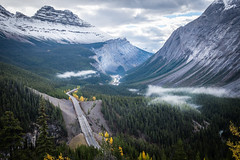 Icefields Parkway (flippers) Tags: road trees cloud mountain snow canada tree fog clouds forest haze snowcapped alberta valley snowcap lowlying