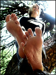 Zoe's bare soles up on a tree (sunnystreets) Tags: park street city tree feet female outdoors foot toes jeans barefoot blonde soles