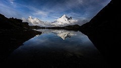Reflections (titteufff) Tags: light sunset sky mountain lake france water clouds canon landscape canon5d montblanc aventure