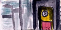 er hatte seine Haltestelle verpasst. Aber es wrde eine neue Haltestelle kommen. Viele neue Haltenstellen. Sie wrden ihn weiter bringen irgendwo hin (raumoberbayern) Tags: city winter bus fall pencil paper munich mnchen landscape herbst tram sketchbook stadt papier landschaft bleistift robbbilder skizzenbuch strasenbahn