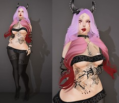 Post #1711 ( =^^=) Tags: pink red black fashion tattoo silver skeleton blog blood eyes shoes key punk purple mesh body head vampire top teeth emo goth skirt ombre faded secondlife pentagram bow spike lacey horn jewelery collar hud pentacle vamp hairclip applier sashakittehwildrose