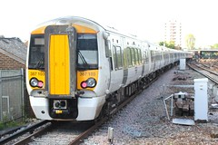 Govia Thameslink Railway . 387 103 . East Croydon Station , South London . Monday 16th-May-2016 . (AndrewHA's) Tags: white london station electric train bedford brighton south railway class east multiple emu express derby croydon unit bombardier 387 thameslink govia 387103