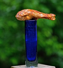 A Smoked Chicken Drumstick on a Cobalt Blue Vase (ricko) Tags: food chicken drumstick vase colbaltblue