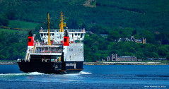 Scotland West Highlands Argyll car ferry Bute passing two castles 29 May 2016 by Anne MacKay (Anne MacKay images of interest & wonder) Tags: sea mountain west castles car by ferry anne scotland highlands argyll may picture mackay 29 caledonian bute 2016 macbrayne xs1