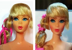 Mod Talker before and after (Pania Cope) Tags: color girl vintage casey mod magic barbie skipper before american restore restoration after swirl ponytail tnt midge tlc sidepart bubblecut