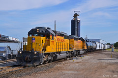 """Southbound Transfer in Kansas City, KS (""""Righteous"""" Grant G.) Tags: city railroad up train power pacific union north railway trains kansas locomotive northbound emd"""