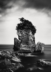 A Dream within a Dream (hiromichiendo) Tags: longexposure blackandwhite bw seascape abstract art nature monochrome japan landscape still rocks fineart silence zen nd minimalism tranquil