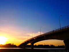 Bridge on sunset (Khoa NH) Tags: travel bridge blue sunset shadow sky architecture river evening vietnam