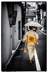 Beautiful Geisha in Tokyo (Sander Pot) Tags: street blackandwhite bw color rain japan umbrella 50mm tokyo nikon asia culture streetphotography geisha kimono geishas kyodo d7000