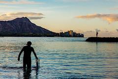 5 a.m. on Waikiki Beach (darren.cowley) Tags: sunrise shadows surfer silhouettes pacificocean diamondhead 5amonwaikikibeach