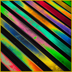 Corrugated (docoverachiever) Tags: california roof abstract building geometric metal colorful neon stripes digitalart diagonal manmade multicolored processed hss oaklandairport corrugatedroof