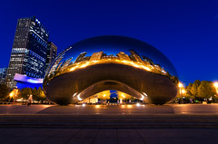 Blue Bean (benchorizo) Tags: longexposure blue chicago architecture reflections downtown nightshots bluehour millenniumpark cloudgate thebean banias benchorizo