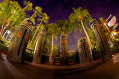 Magic Kingdom: Tiki Statues (Hamilton!) Tags: world camera lake slr statue night bay pod gorilla florida sony magic tripod statues kingdom disney resort fisheye mount vista alpha walt tiki buena nex gorillapod mirrorless rokinon emount nex7