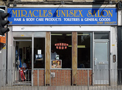 Miracles Unisex Salon, West Ham Road E15 (Emily Webber) Tags: london shops e15 shopfronts newham westhamroad londnshopfronts