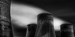 Four (Boyd Hunt) Tags: chimney sky bw industry night canon dark energy smoke towers steam pollution electricity coal coolingtowers