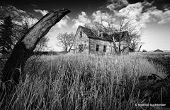 Massey Farmhouse (/ shadows and light) Tags: old sky bw house abandoned monochrome grass clouds bush branch decay manitoba bushes abandonment decayed decaying ruralexploration rurex fisherbranch