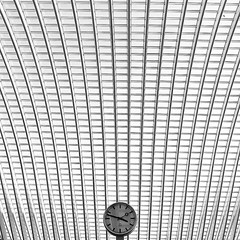time and space - ( explored ) (mujepa) Tags: bw abstract clock monochrome lines station architecture belgium belgique gare curves creative shapes railway nb trainstation geometrical horloge lige guillemins mygearandme rememberthatmomentlevel1 rememberthatmomentlevel2 rememberthatmomentlevel3 vigilantphotographersunite vpu2 vpu3