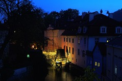 Views from Charles Bridge in Prague - ertovka (beyondhue) Tags: bridge blue light sky mill night river dark republic czech prague dusk charles praha most vltava karluv republika ceska ertovka mlyn beyondhue