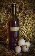 Fresh Eggs and Cherry Wine (dbnunley) Tags: stilllife chicken canon cherry wine egg homemade hay bale 60d