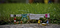 Hanging Out The Washing (MarkBarron) Tags: family people home nature garden eos gold miniature flickr little fine award littlepeople washing x4 finegold 550d miniaturephotography flickraward eoskissx4 eos550d rebelt2i canoneoskissx4