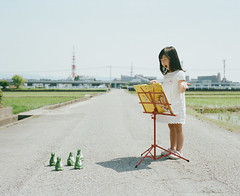 A Chorus of Frogs () (Toyokazu) Tags: family portrait music girl kids chorus child frog leader conductor photogenic pentax67